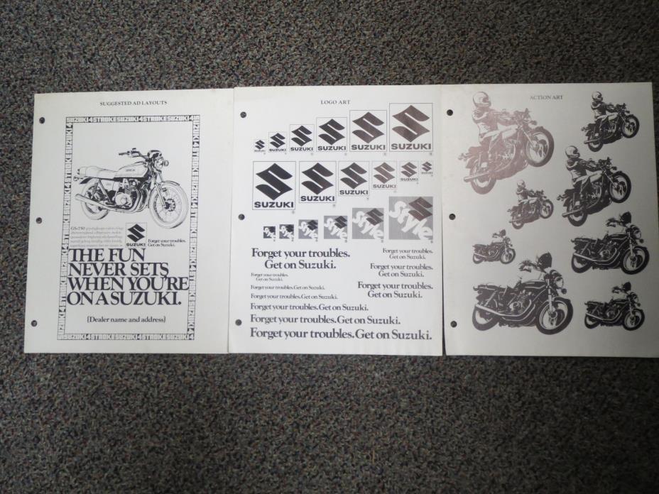 NOS Suzuki 1980 Motorcycle Brochure & Ad Photos *Dealer Only!!!