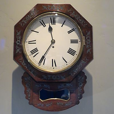 LOVELY ANTIQUE ENGLISH ROSEWOOD WALL CLOCK WITH PEWTER INLAY