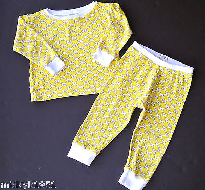Boutique OM Baby Organic Sunny Yellow Trellis Top & Pants PJs 18-24M