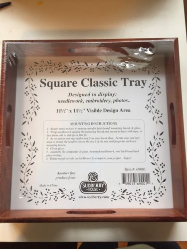 Sudberry House Wood Square Classic Tray With 11.5 Inch Square Design Area