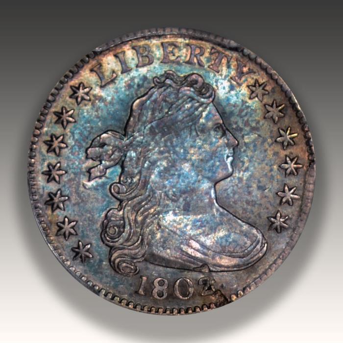 1802 Draped Bust Dime PCGS AU Details, Killer Color, Really New!!
