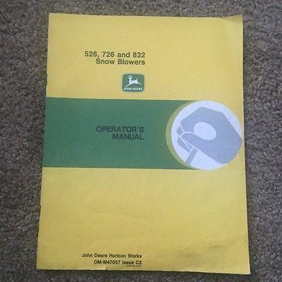 john deere operators manual 526 726 832 snow blowers