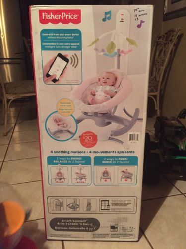 Fisher-Price 4-in-1 Smart Connect Cradle 'n Swing With Smart Phone Connect Pink