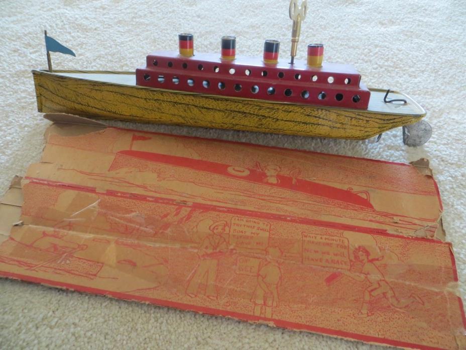 Vintage Lindstrom Wind-up Tin Boat with Lindstrom Box