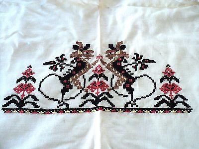 Vintage Hand Stitched Finished Needlepoint cross-stitched completed stitch `