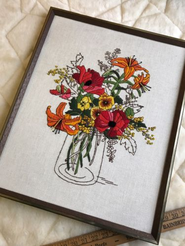 Flower Vase Crewel Embroidery Sunset Stitchery 2252 Finished And Framed