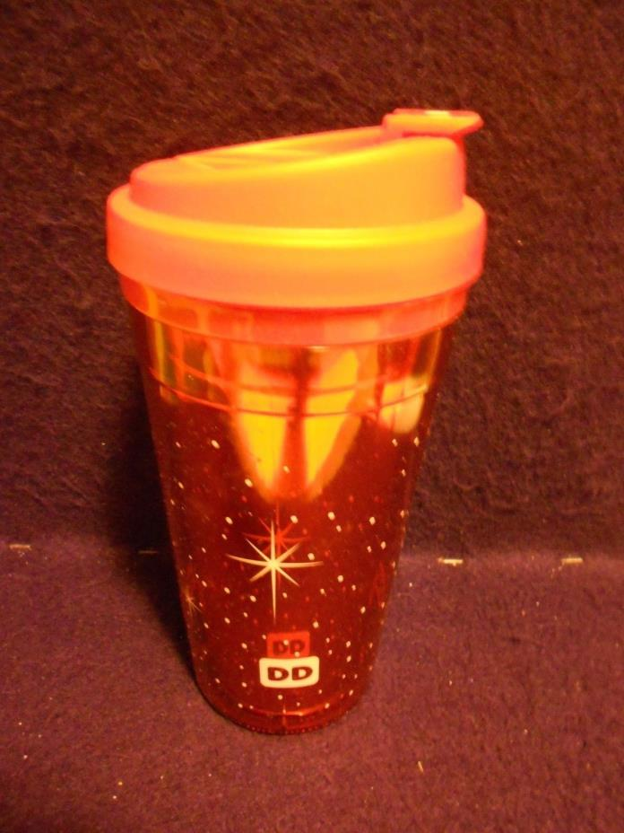 DUNKIN DONUTS HOLIDAY TRAVEL INSULATED 15 OZ MUG TUMBLER RED