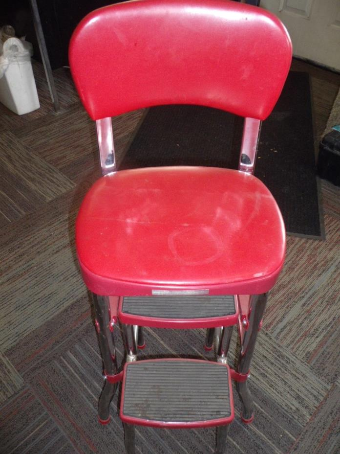 OLD FASHION KITCHEN STOOL Lift Up Upholstered Seat Swing Out Step Bar Red Chair