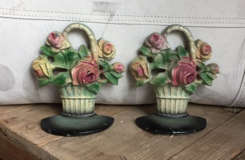 Charming Old Shabby Chic Cast Iron Rose Basket Bookends