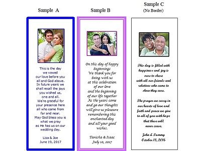 100 Personalized Wedding Favor Bookmarks Custom Made with Your Photo