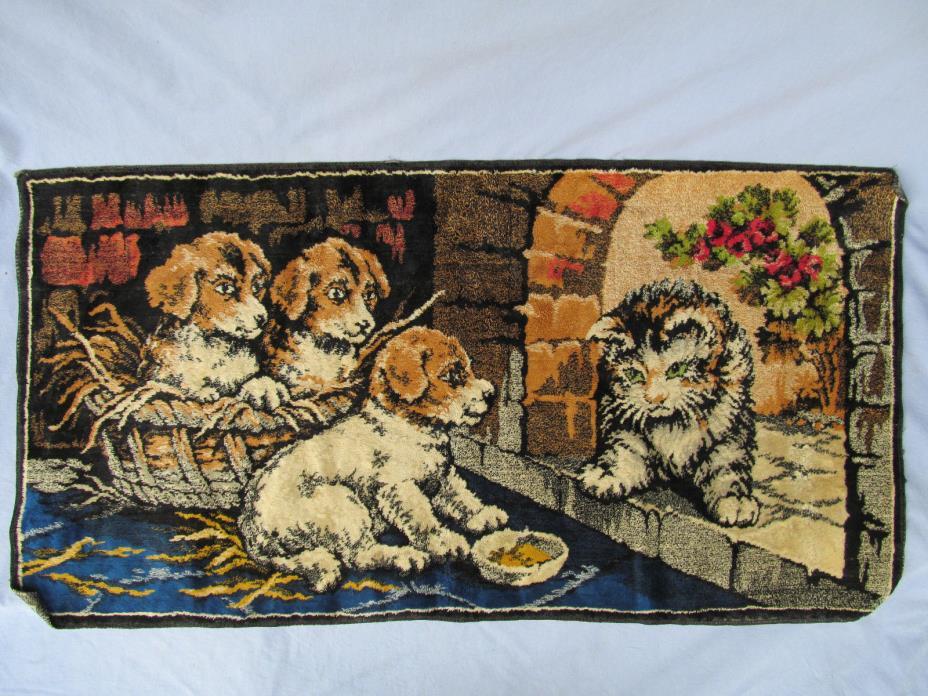 Vintage Italian Velvet Tapestry Puppies Kitten