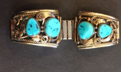 $156 VTG Navajo Silver Gold Turquoise Watch band- Justin Morris Sterling 12KGF