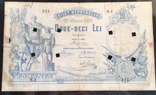 20 Lei 1877 Bilet Hypothecar Romania Rare Banknote