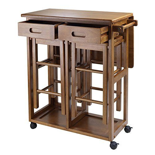 Wood Table Space Saver 2 Stools Teak Square Drop Leaf Rolling Kitchen
