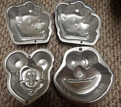 Lot 4 Wilton Singles Aluminum Cake Pans Mickey Mouse Winnie Pooh  Cookie Monster