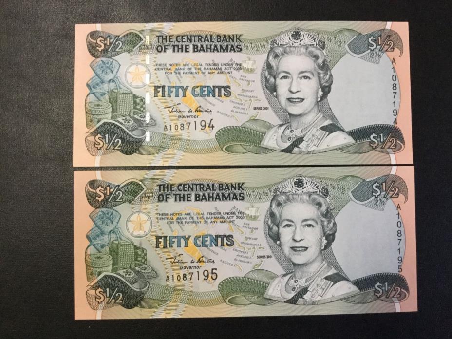 2001 BAHAMAS PAPER MONEY - 50 CENTS BANKNOTES (2 NOTES) !