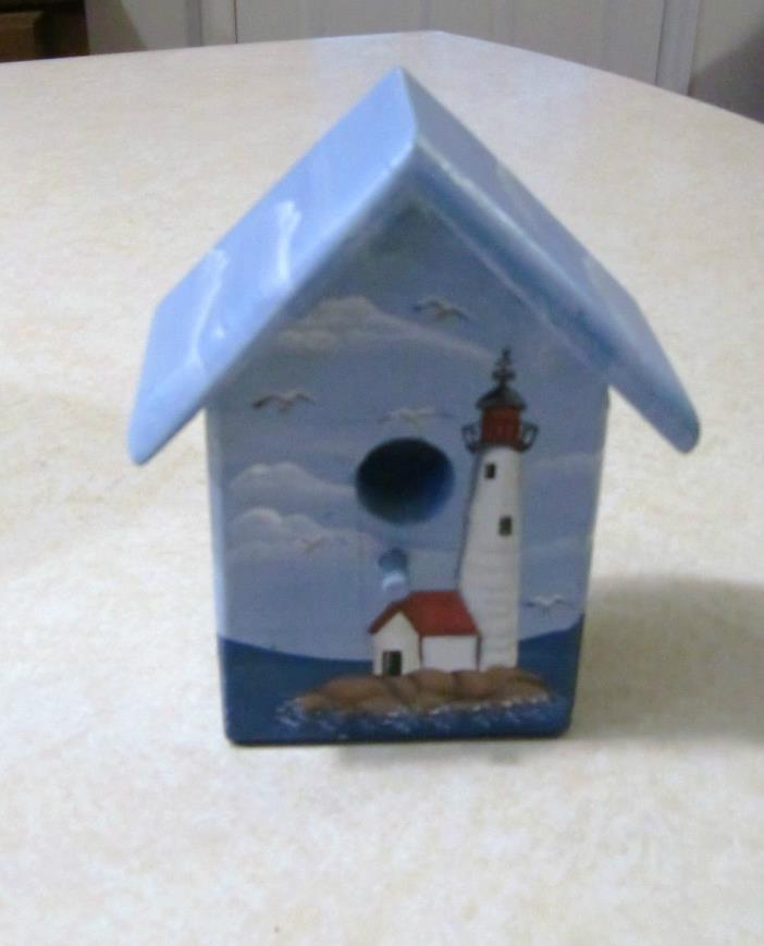 WOODEN BIRDHOUSE SHELF SITTER DECOR - LIGHTHOUSE -SAILBOAT  NOS IN BOX