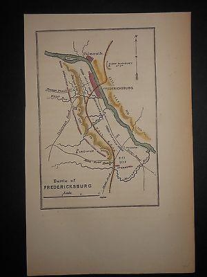 Battle of Fredericksburg Virginia 1871 Map Hand Colored Confederate & Union