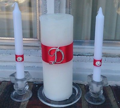 MONOGRAM PERSONALIZED Unity Candle Set /Tapers set & Candle Holders included !