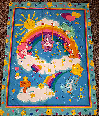 Baby crib quilt, CARE BEARS Rainbow stars blanket  WALL HANGING