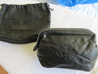 CHROME HEARTS BLACK LEATHER LAMBSKIN COSMETIC BAG WITH STERLING DAGGER