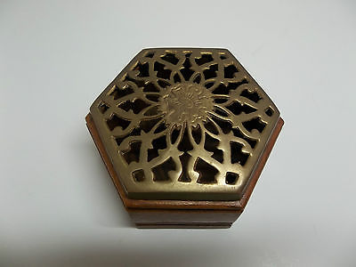 Vintage Small Hexagon Trinket Box_Wood with Brass Cutout Design Lid