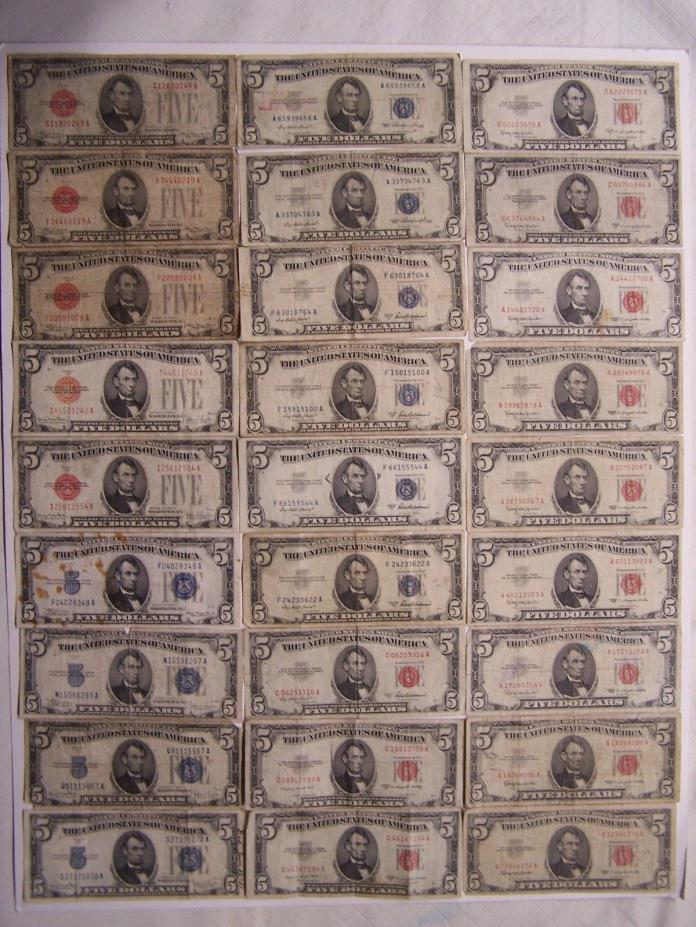 (27) 1928, 1934, 1953 and 1963 $5 Red Seals and Silver Certificates