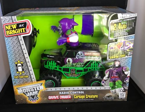 Hot Wheels Monster Jam Grave Digger Truck Radio Control 2.4 GHz Carnage Creature