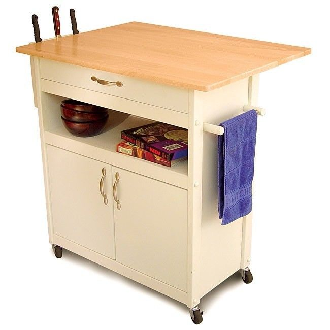 Kitchen Utility Cart Appliance Prep Dinning furniture Storage Portable Wht Wood