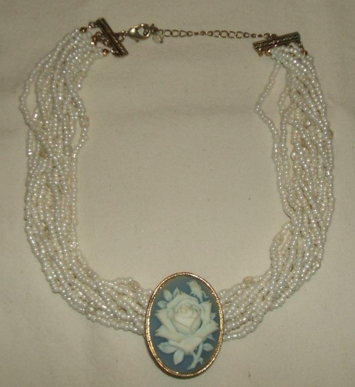 VINTAGE AVON MULTI STRAND SEED BEAD BLUE WEDGEWOOD STYLE ROSE CAMEO NECKLACE