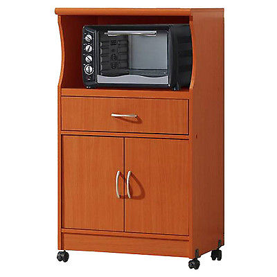 Microwave Cart Rolling Portable Storage Cabinet Drawer Wood Kitchen Unit Cherry