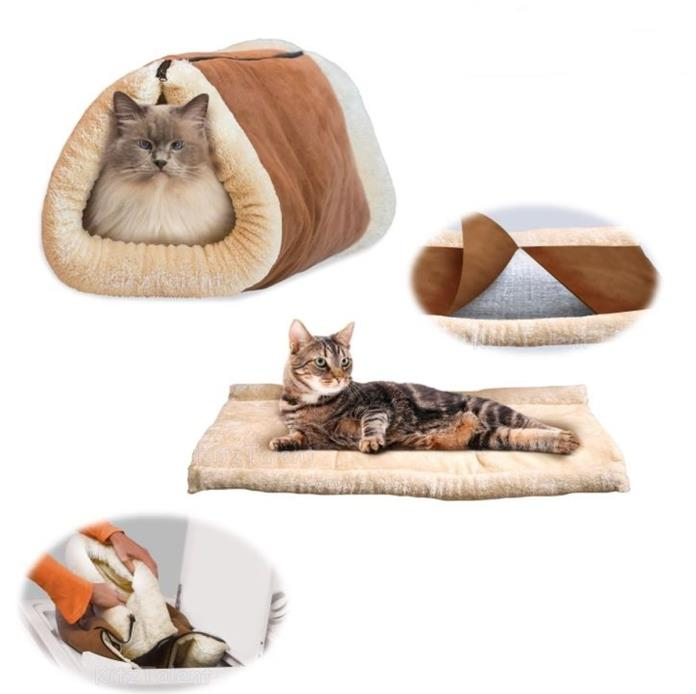 Portable Cat or Dog Bed Tube Blanket Heated Bedding Mat Lightweight Washable Pet