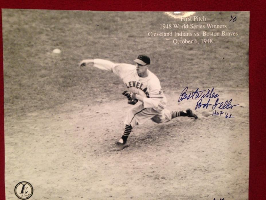 Sports cards  bob feller signed picture NICE