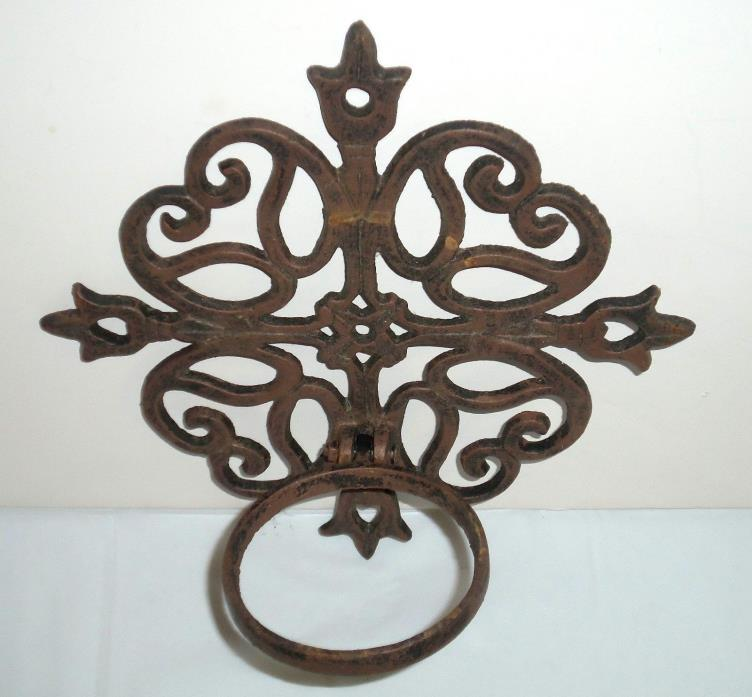 Cast Iron Plant Holder Ornate Scroll  Wall Mount 8.5 x 8.5 Hinged Ring Metal