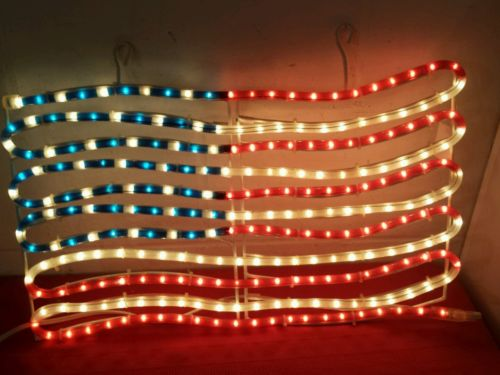 Patriotic AMERICAN FLAG ROPE LIGHT July 4th RED WHITE BLUE Holiday Decor USA