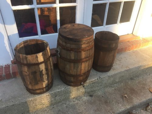 x3 Vintage Whiskey Wine Barrels wood w/ Handles Lid 100yr Old Barn Farm Find!!!!