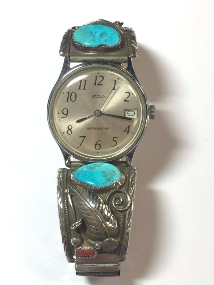 Vintage Navajo Sterling Silver Turquoise Watch Tips w/ Watch & Band