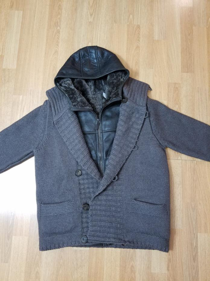 A Canali Cardigan Jacket removable Hooded Shearling Vest NWT US 40 EU 50 $5235