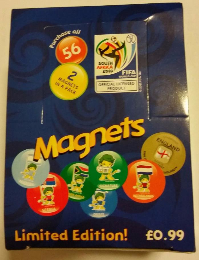 FIFA World Cup 2010 South Africa Magnets Box of 28 packs total of 56 magnets New
