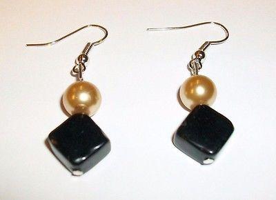 Gold Pearl and Black Onyx Dangle Earrings *Stone Healing*