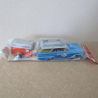 Vintage Lucky Toy U Haul Station Wagon with U Haul Trailer
