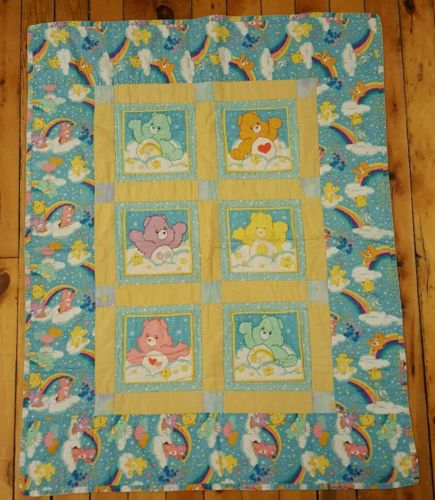 Vintage Care Bears Quilted Wall Hanging Blanket Hearts Stars Rainbows Clouds