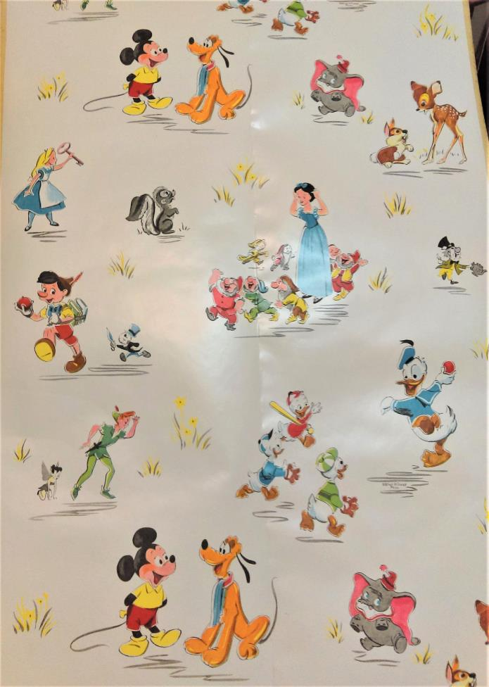 Vintage 1950s RARE DISNEY Characters Adhesive Contact Wallpaper OVER 5 YARDS