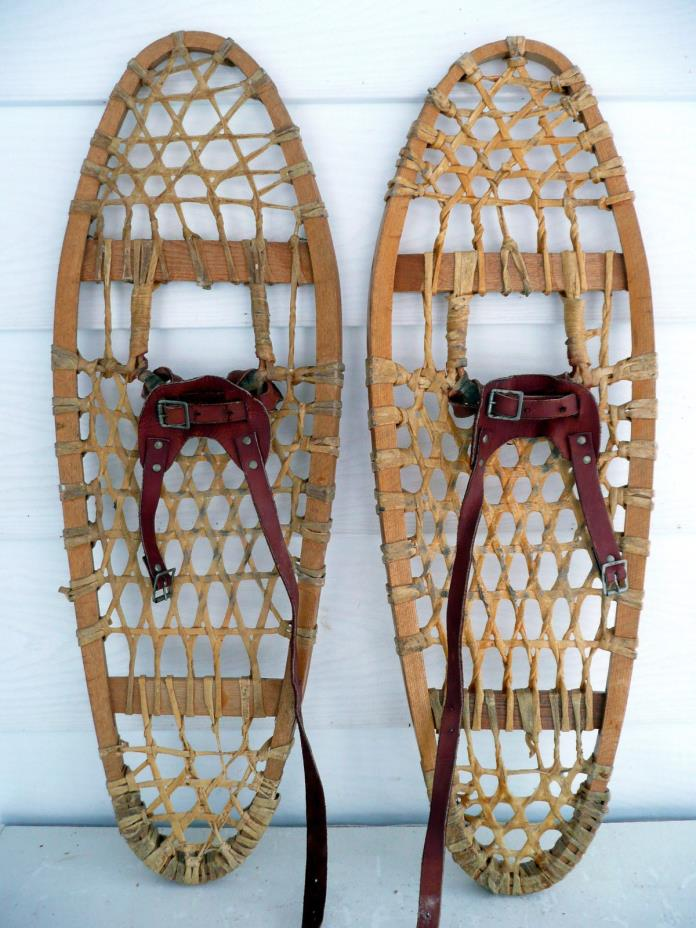 Antique Vintage Indian made Trapper Snowshoes 10 X 30 * Excelent *