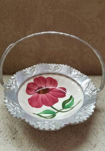 Vintage Brides bowl basket silver color flowers