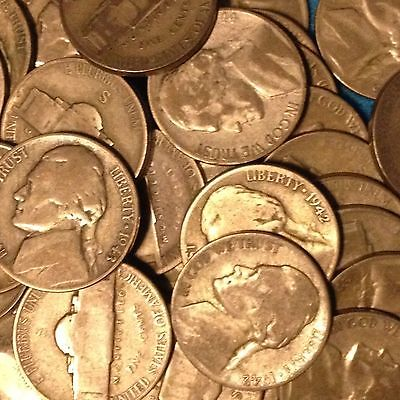 ROLL of 40 qty CIRCULATED SILVER JEFFERSON NICKELS..