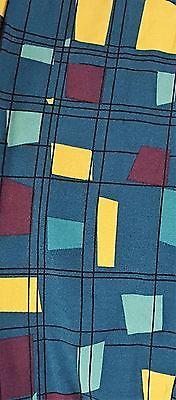 LuLaRoe OS Unicorn Teal and Seafoam Green Mustard Black Squares and Geometric