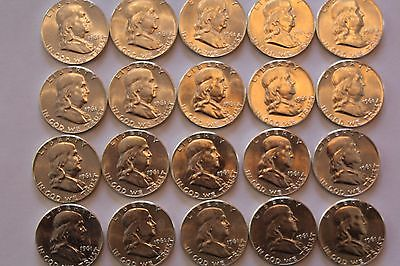 Bu roll of 1961-P Franklin half dollars