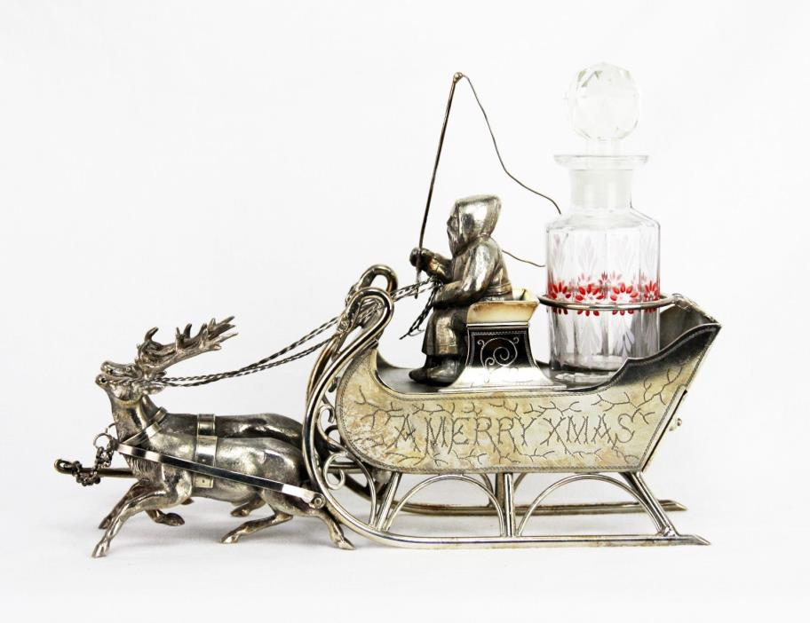 Rare Meriden Silver Plate Santa, Reindeer and Sled Perfume/Jewelry Box ca1880