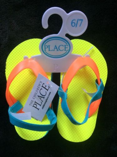 Children's Place Sandals Yellow Orange Blue Toddler size 6-7 with Heel Strap